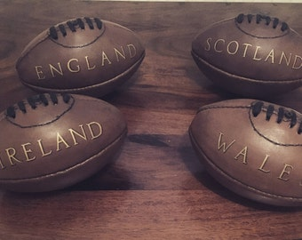 Mini Personalised Vintage style Leather American Football / Rugby ball