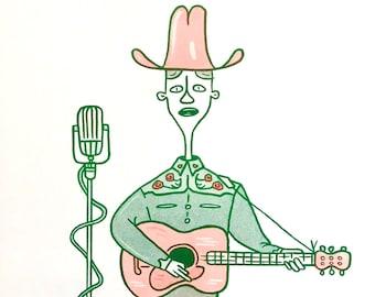 Honky tonk hero country music guitarist A4 risograph print