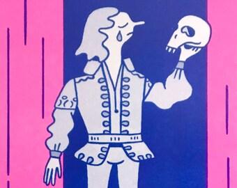 Hamlet & skull Shakespeare A4 risograph print
