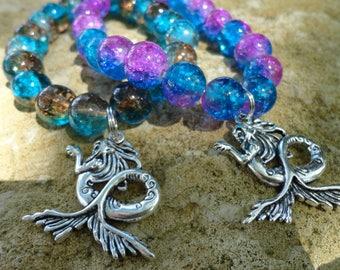 """Bracelet """"the secret of mermaids"""", glass beads on elastic"""