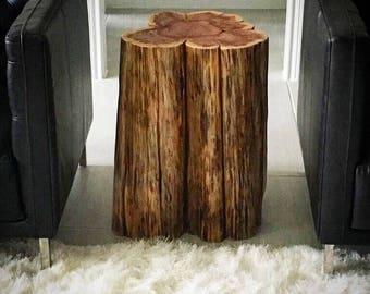 Tree Stump Side Table Real Cedar Log Furniture Coffee Rustic Tables Modern Furn