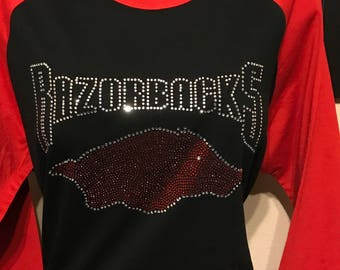 Arkansas Razorback BLING Ladies Raglan Shirt