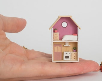 Miniature Purple House, mini home, miniature home, Dollhouse, modern Dollhouse, Prettymodels