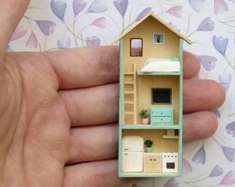 Blue and Brown House, miniature house, Modern house, handmade, prettymodels