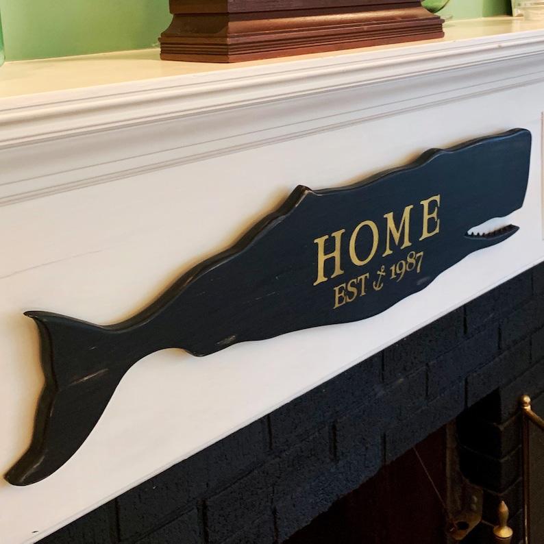 Custom Wood Whale Sign Home Sign Whaling Sign, Coastal Christmas Town Sign Vintage Coastal Decor Black Vintage Whale
