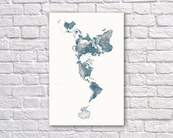 Dymaxion map print etsy dymaxion world elevation map poster buckminster fuller map global terrain wall map poster gumiabroncs Images