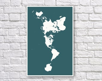Dymaxion map poster etsy dymaxion map poster fuller map projection world map wall art blue oceans gumiabroncs Images