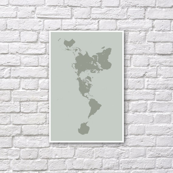 Dymaxion map poster fuller map projection world map wall etsy image 0 gumiabroncs Images