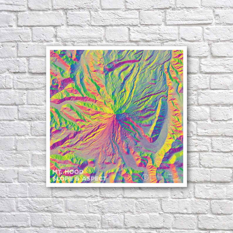Mt Hood Oregon Map Elevation Map Topographic Map Etsy