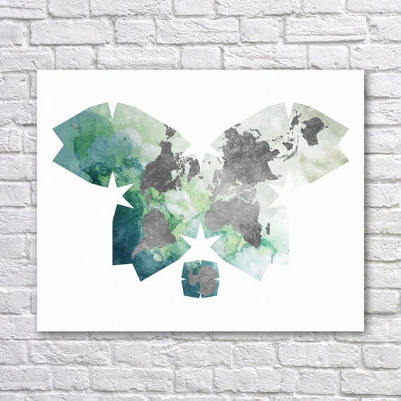 Butterfly Projection Faux Watercolor World Map Atlantic View Etsy
