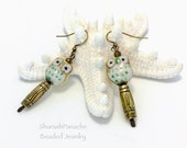Owl Earrings, Owl on Stump Perch Earrings, Antique Gold Jewelry, Yellow Green Owl Ceramic Bead Earrings, Unique Earrings, OOAK, Gift for Her
