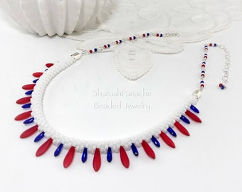 Absolutely Red Wire and Bead Silver Kumihimo Semicirclular Pendant Necklace