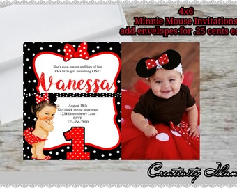 Digital Red And White Minnie Mouse 1st Birthday Invitations Etsy