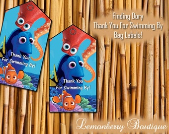 Finding Dory Bag Tags, Dory, Nemo, Fish, Blue, Party Bags, Digital Download, Thank You for Swimming By