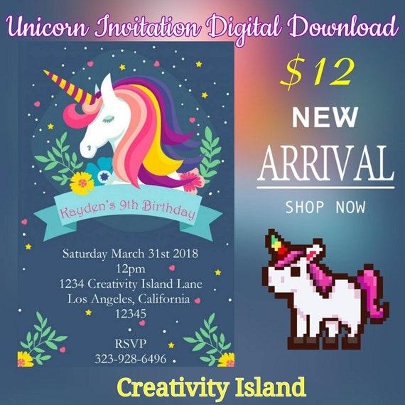 Magical Unicorn blue, Rainbow, Floral Digital Download Birthday Invitation