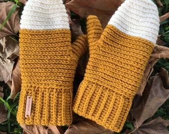 Infinity braid mittens / colorblock mittens / crochet mittens