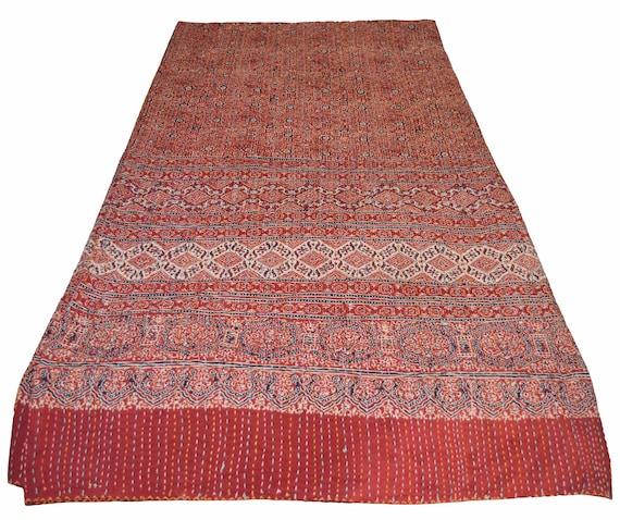 Queen Vintage Blanket Kantha Quilt Handmade Bedspread Ajrakh Block Print AQ-03