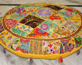Indian Vintage Round Floor cushion Cover, Floor Cushion Cover, Floor Pillow, Seating, Floor pouf, pouffe, Patchwork Pouf cover, pouffe