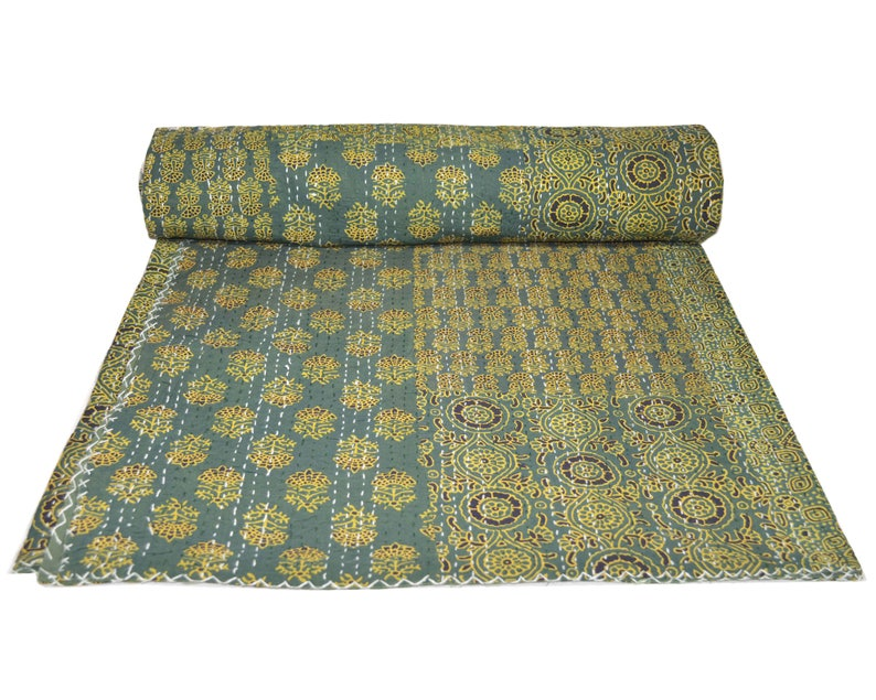 Indian Printed kantha Quilt Handmade Queen SIze Cotton Throw Bedspread