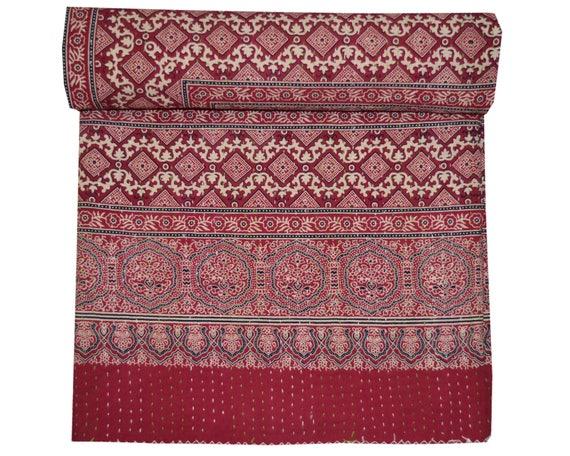 Block Print Indian Quilt 90x60 100/% Cotton Floral Hand Print Kantha Quilt Rajai