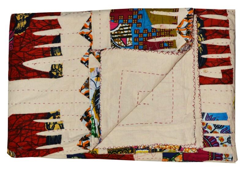 Indian Quilt 100/% Cotton Blanket Linen Bed sheet Handmade Elephant Applique patch Kantha Quilt Queen Size Bedcover Bedspread Coverlet