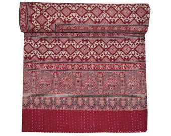 Queen size Kantha Quilt Vintage Indian Art Handmade hand block print 100% Cotton Kantha Bed-cover Bedspread Blanket Coverlet Bed sheet