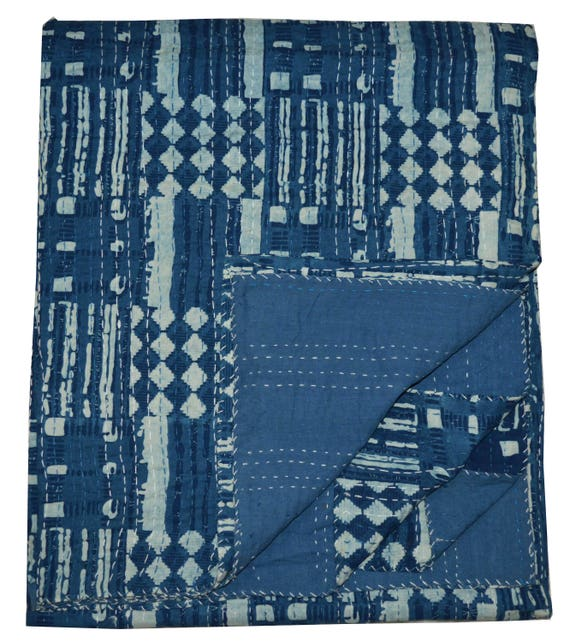 Queen Indian Handmade Cotton Kantha Blanket Quilt Throw Vintage Cotton Bed Cover