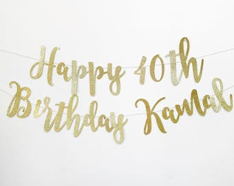 Custom Happy Birthday Banner, Gold Birthday Banner, Happy Birthday Sign, Birthday Party Banner, Glitter banner, name Happy Birthday Banner