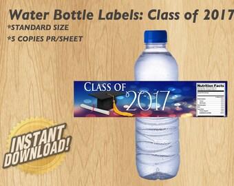 Class of 2017 Water Bottle Label