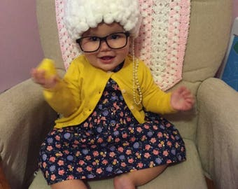 ae36583711a DELIVERY BEFORE HALLOWEEN Grandma costume- old lady costume -toddler  costume baby costume- baby girl grandma- hat, glasses chain holder