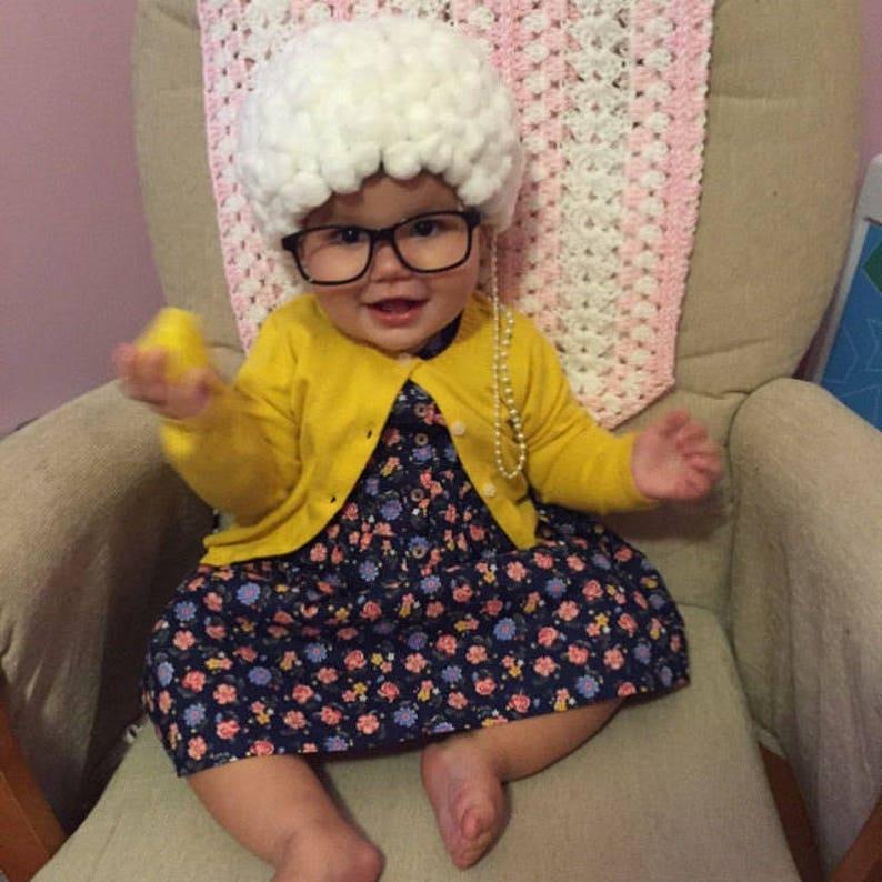DELIVERY BEFORE HALLOWEEN Grandma costume- old lady costume -toddler  costume baby costume- baby girl grandma- hat, glasses chain holder