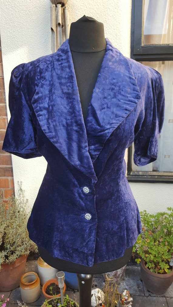 1940s purple velvet evening jacket