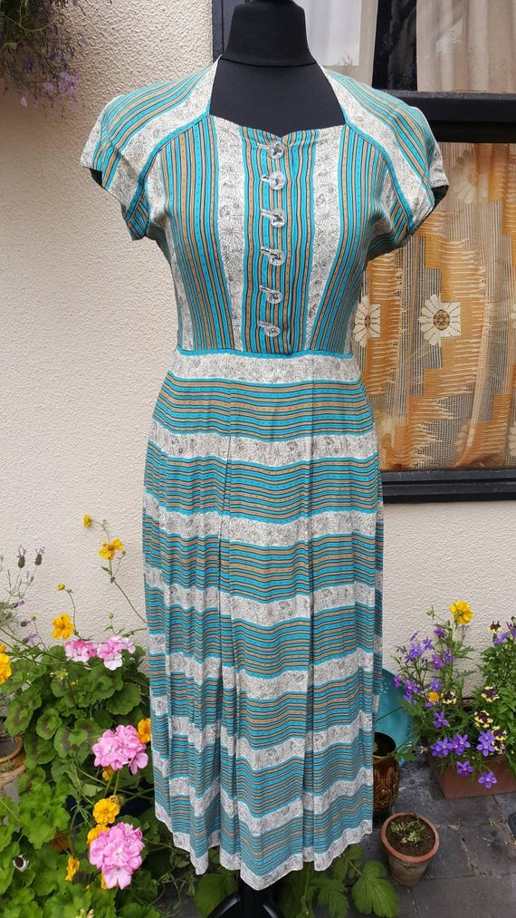 1940s rayon silk dress