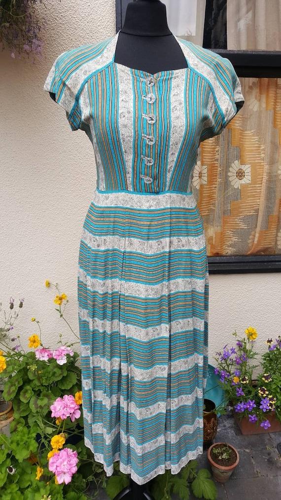 1940s rayon silk dress