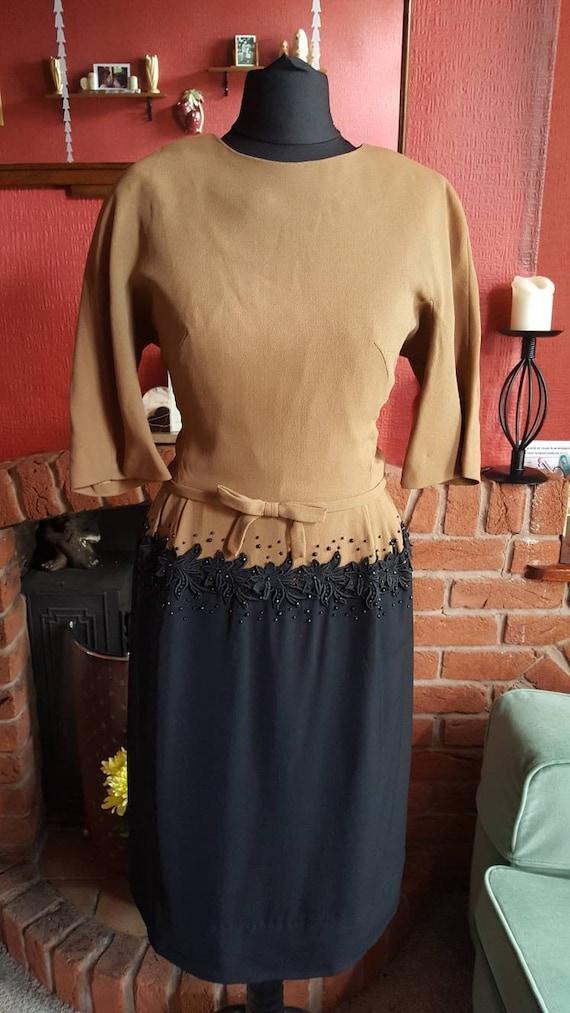 1950s crepe evening dress