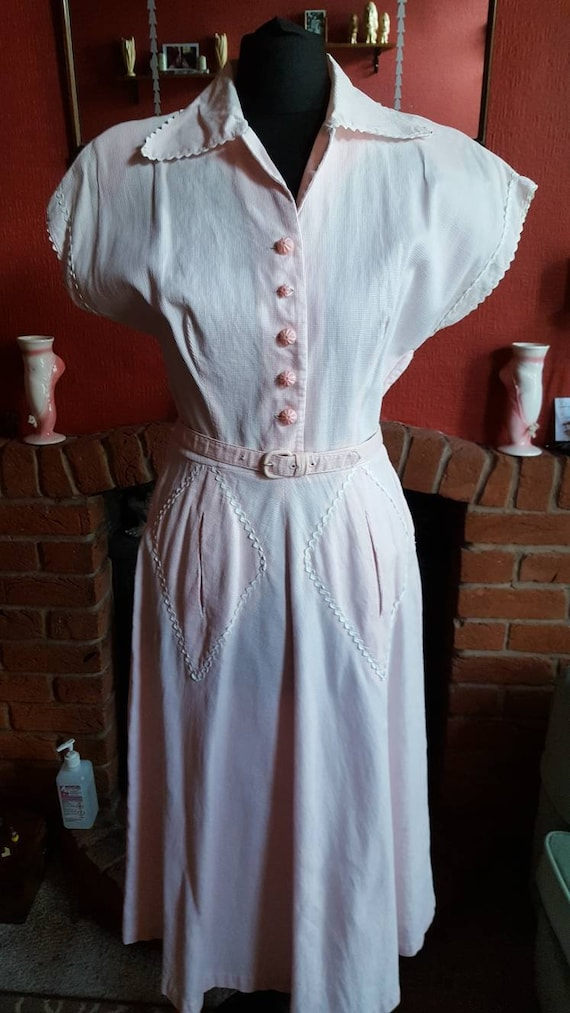1940s waffle cotton day dress