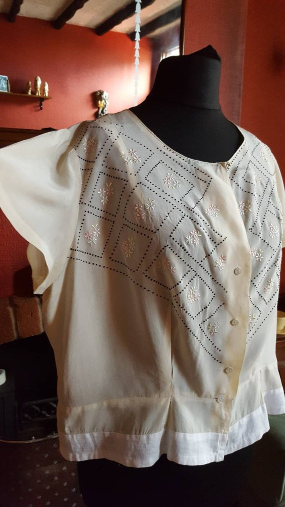 1920s organza blouse - image 3