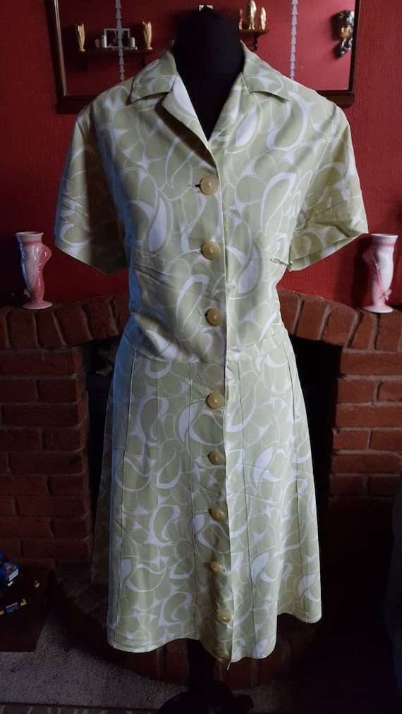 1940s green day dress