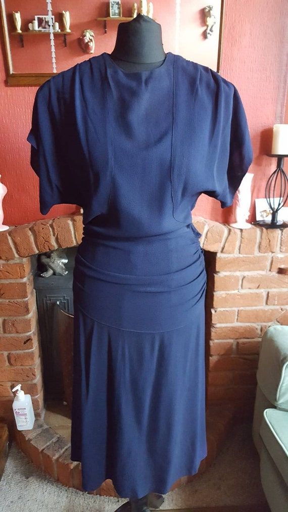 1940s navy crepe cocktail dress