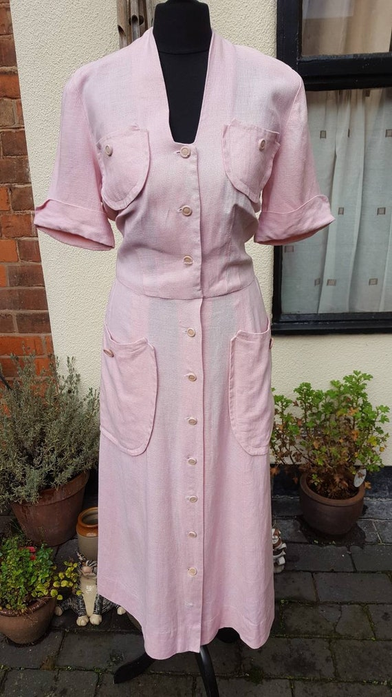 1940s pink linnen dress