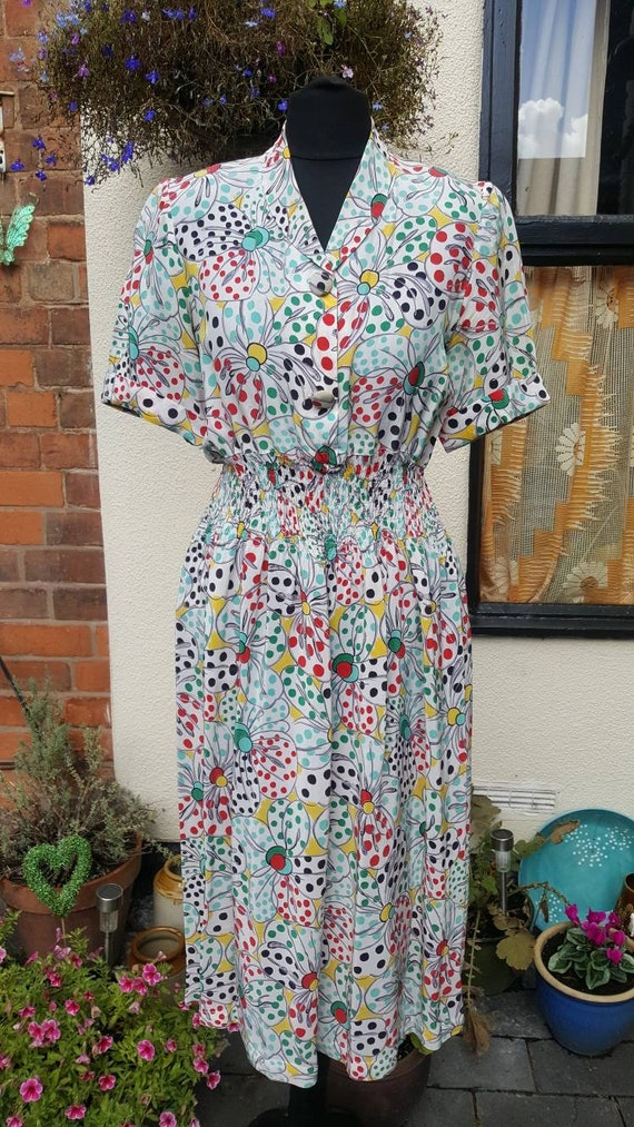 1940s CC41 novelty print Rayon dress