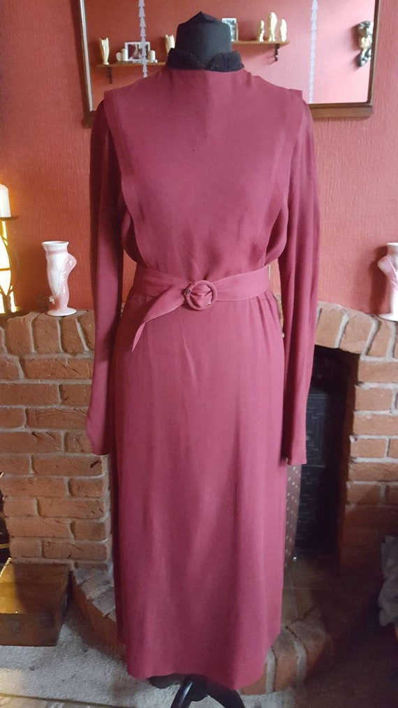 1930s crepe dress with astrakan  collar