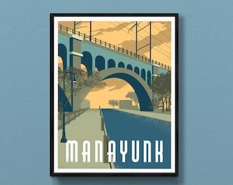 Manayunk art print   Schuylkill River Trail   Manayunk Bridge Trail   Philadelphia poster   Philly wall decor   Roxborough souvenir
