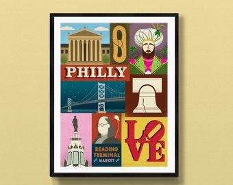 Philadelphia poster   Philadelphia art   Philadelphia print   Love Park   Jason Kelce   Philadelphia skyline   Philly souvenir   Philly