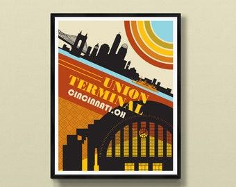Union Terminal   Cincinnati art   Cincinnati skyline   Ohio print   Ohio poster   Cincinnati, OH   Roebling Bridge   Queen City Square