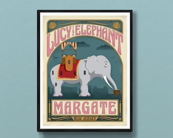 Margate New Jersey art print   Lucy the Elephant   Jersey Shore poster   Atlantic City wall art   Margate skyline   New Jersey gift