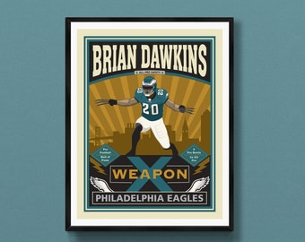 Brian Dawkins poster   Philadelphia Eagles gift   Philly wall decor   Brian Dawkins art print   Phila PA   Fly Eagles Fly   Philly special
