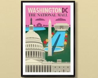 Washington DC art   Washington DC print   Washington DC poster   District of Columbia   us capitol   Washington Monument   National Mall