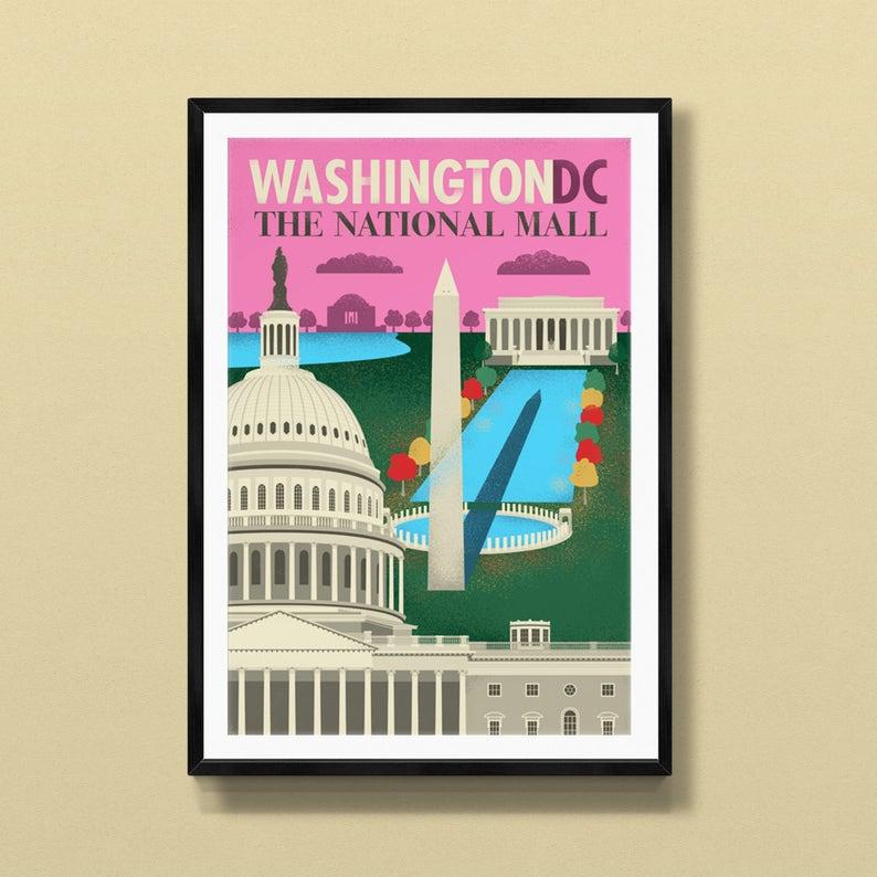 Washington DC art  Washington DC print  Washington DC poster image 0