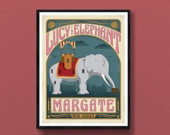 Margate New Jersey art poster   Lucy the Elephant   Atlantic City wall art   Margate skyline   New Jersey gift   NJ art print